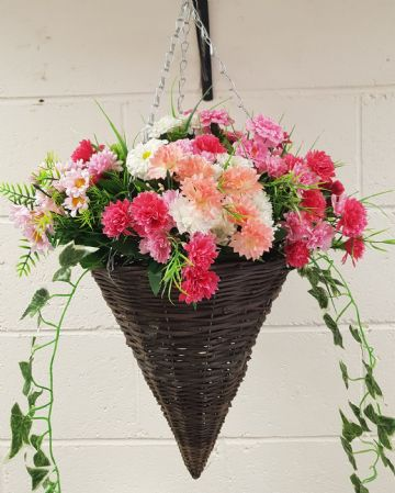 Round Wicker Artificial Flower Cone Hanging Basket - Pink and White with trailing Ivy